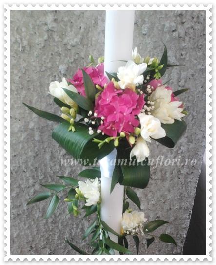 Lumanari de nunta hortensie si frezii
